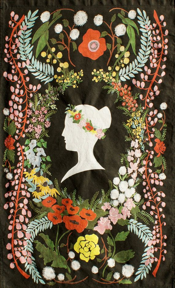 beautiful tea towel featuring Queen Victoria and a hidden poem written in the language of Victorian era flower meanings. From The House That Lars Built.