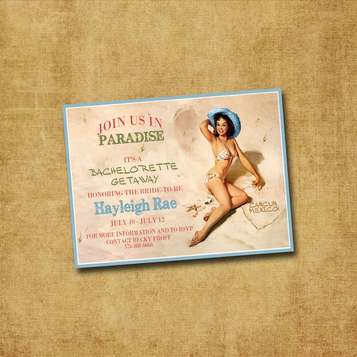 Printable Bachelorette Invitation - Beach Babe Pin Up Vintage Bachelorette Party, Hens Night, Lingerie Shower. $12.00, via Etsy.