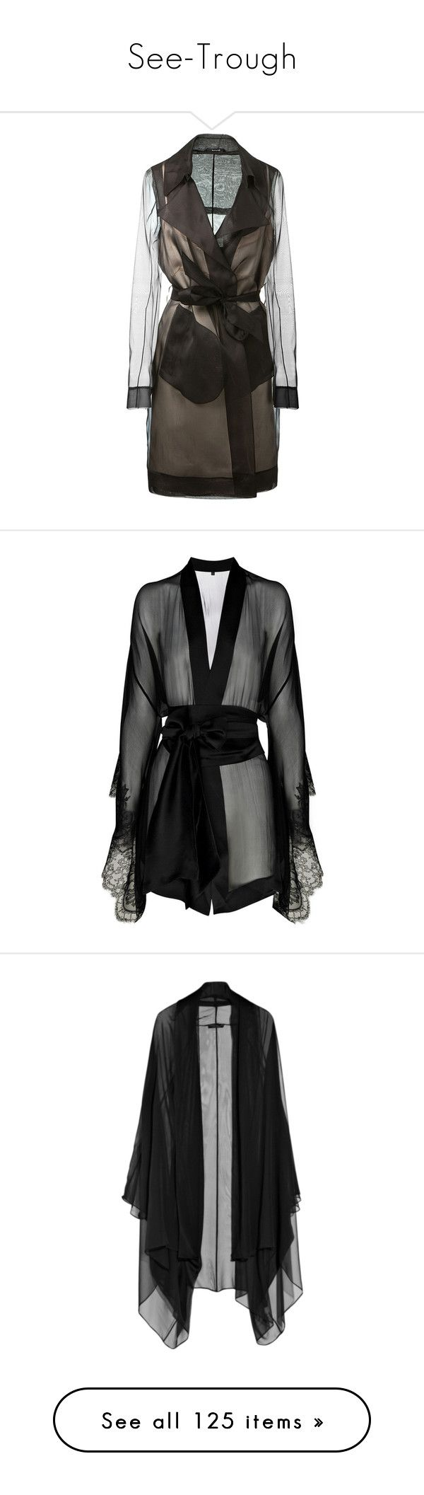"""""""See-Trough"""" by fufuun ❤ liked on Polyvore featuring tops, silk chiffon top, transparent tops, sheer top, see through tops, maison margiela, intimates, robes, lingerie and dresses"""