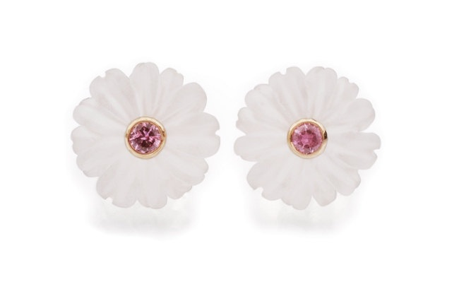 Crystal Quarts and Pink Sapphire Flower Earrings in Yellow Gold.
