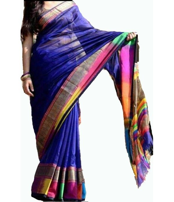 Blue Handloom Maheshwari Cotton Silk Saree---  The Maheshwari saree is characterized by its simplicity. Silk yarns in the warp and fine cotton yarns in the weft makes the fabric light and airy with a subtle luster of silk.. Click here--- http://luxurionworld.com/maheshwari-silk-cotton-sarees/LWMHSSIA06_Blue_Handloom_Maheswari_Cotton_Silk_Saree.html