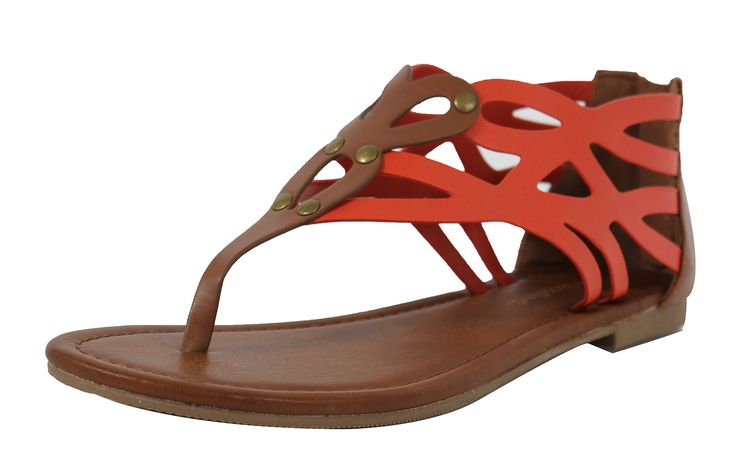 CityClassified Women's Color Block Back Zipper Flat Sandals SIZE 10. model is a size 7, and a size 7 fits her perfectly. synthetic. manmade material.