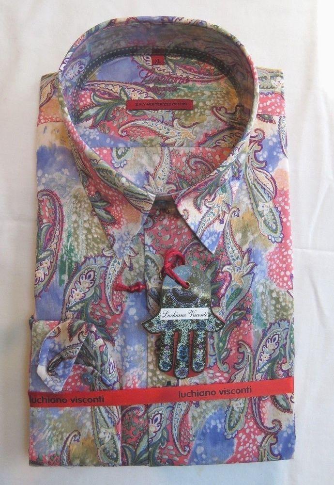 Multi-color Luchiano Visconti Men's Dress Shirt | Multi