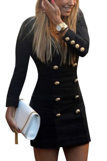 Black Fashion Long Sleeves Button Pencil Dress