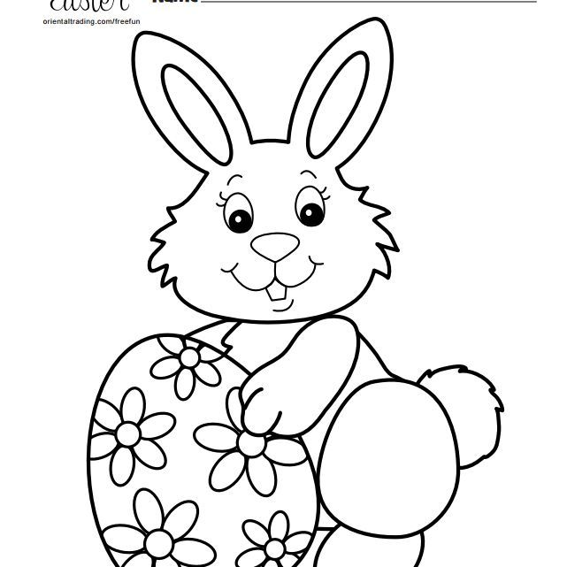 20 Easter Bunny Coloring Pages Cartoon Drawings Silhouette