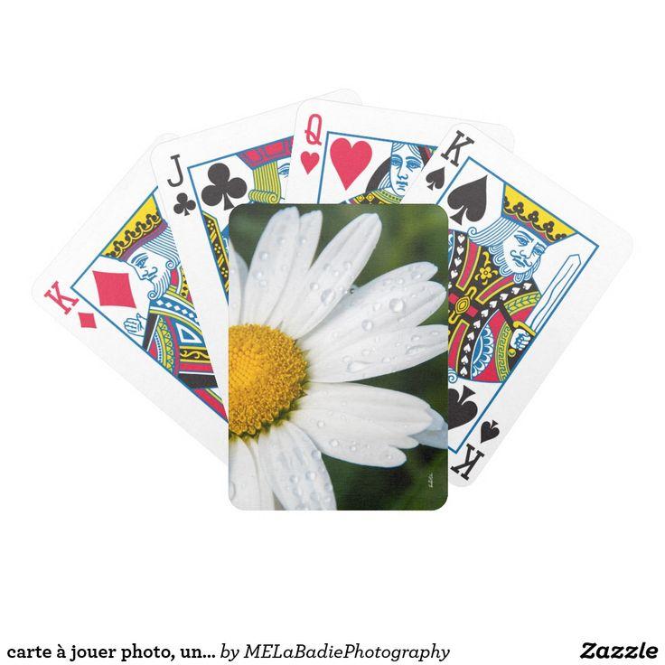 carte à jouer photo, une margueritte, font vert