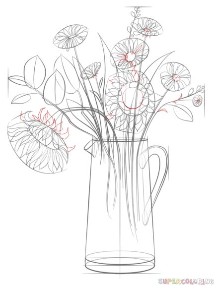 how to draw a realistic flower bouquet