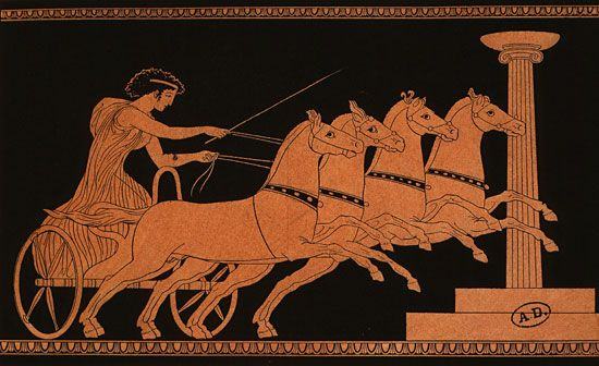 Young girl winning chariot race, engraving from red-figure Greek vase