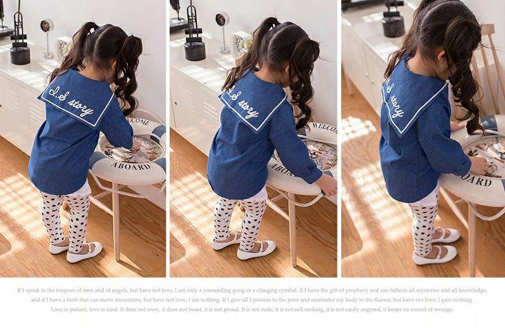 Isabell wearing a denim lon shirt with a dot prints leggings.