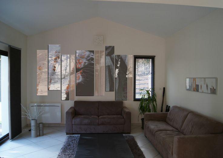 Création sur mesure d'une composition murale. Impression sur panneaux Dibond. Design mural, Karine Montreuil, Atelier Kaali. http://design-mural.com/
