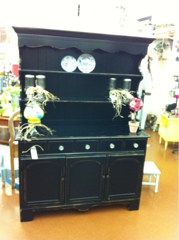 Black Early American Hutch Distressed