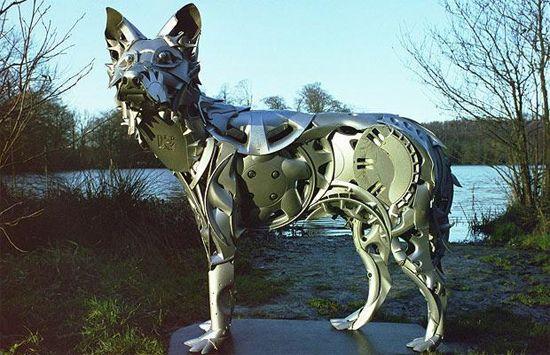 Hubcap Sculptures by Ptolemy ElringtonArtists Ptolemy, Collection Hubcaps, Animal Art, Ptolemy Elrington, Metals Art, Dogs Sculpture, Animal Sculpture, Hubcaps Sculpture, Sculpture Art