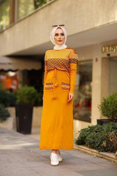 Modabahar Sari Orgu Desen Tesettur Triko Elbise Tesettur Triko Modelleri 2 Tesettur Triko Modelleri 2020 In 2020 Fashion Loose Knit Sweaters Outfits