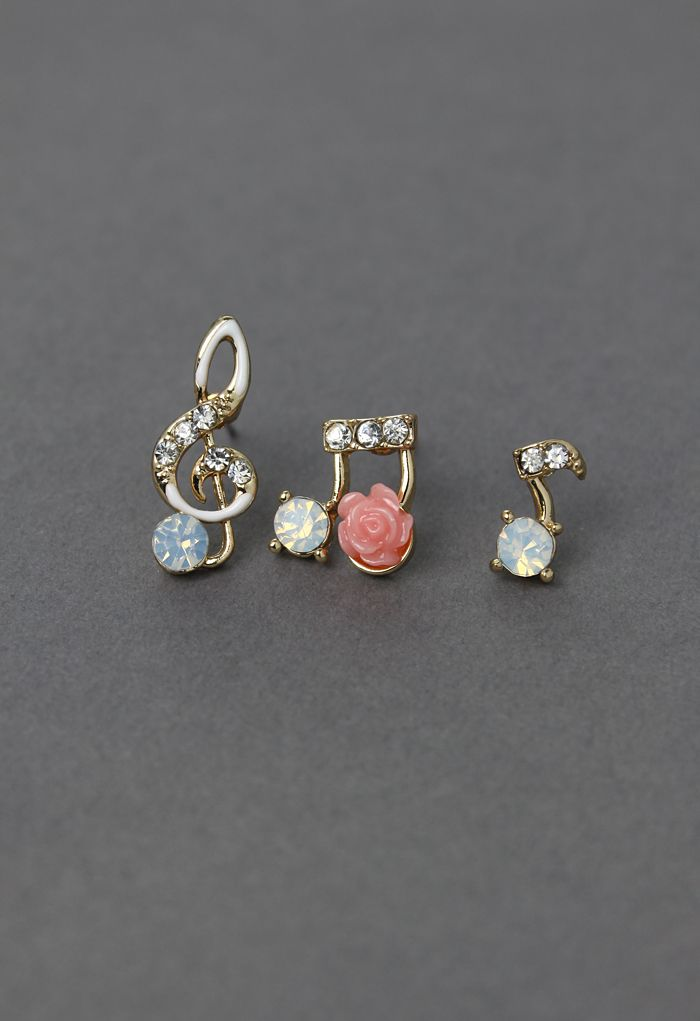 Music Notes Floral Earrings - Earrings - Accessory - Retro, Indie and Unique Fashion