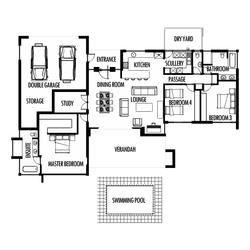 3 Bedroom 285m2 Floor Plan Only 4 Bedroom House Plans One Bedroom House House Plans South Africa