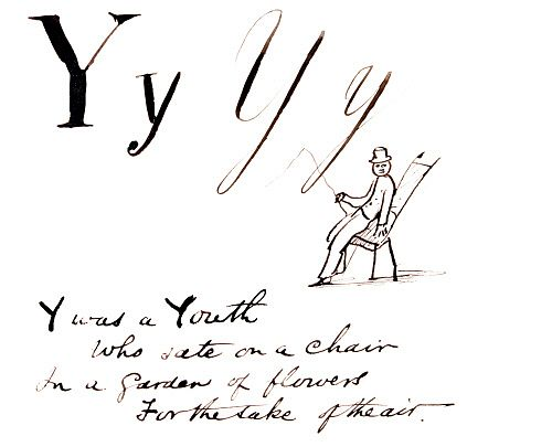 Y was a Youth, who sate on a chair..., by Edward Lear. England, late 19th century