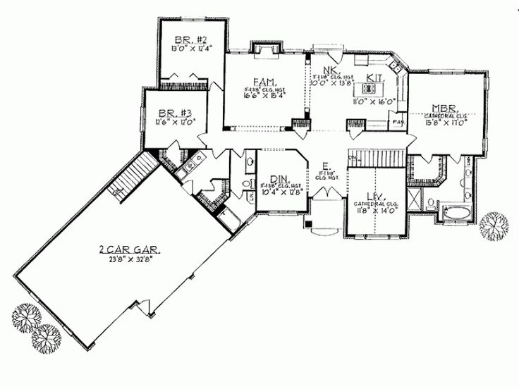 12 best house plans images on pinterest ranch homes, small 2 Story Open House Plans angled house plans with 3 bedrooms home 2350 square feet and 2 story open house plans