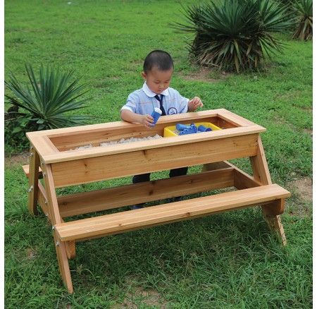 FITS Outdoor Sand Play Table: Perfect for sand, kinetic sand or dough play. This versatile table also lends itself perfectly to small world play, create a range of different themed small world environments according to the children's interest. Made of natural fir wood and specifically treated for outdoor use