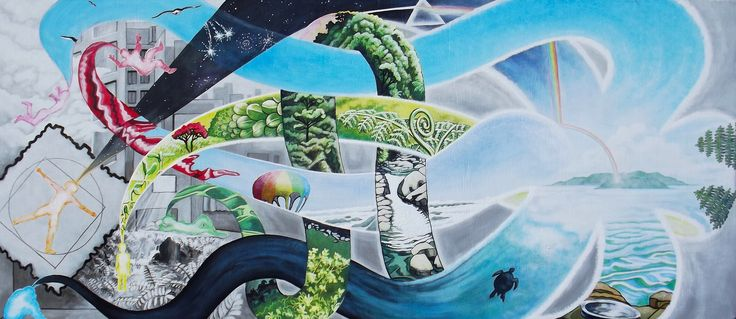 """""""The windows of our dreams"""", 96cm x 42cm, potential mural design developed for a competition."""