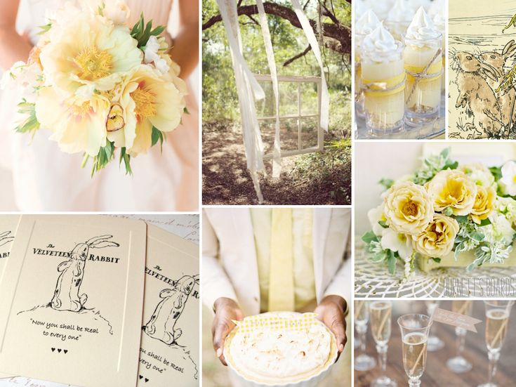 light yellow wedding inspiration board via Burnetts Boards (Yellow and Pistachio in C & P colors)