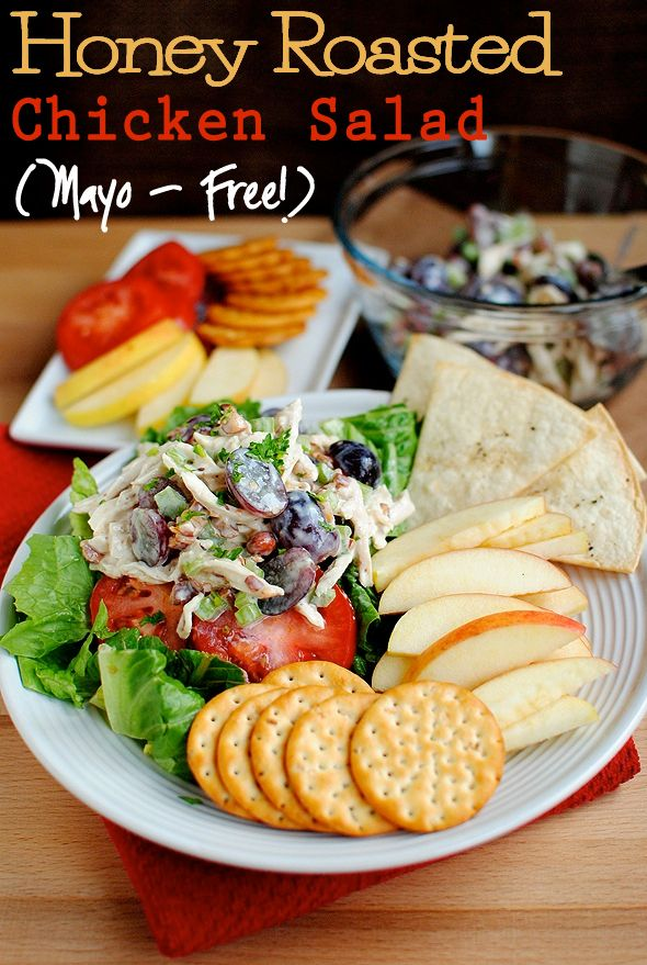 No-mayo chicken salad.: Mayo Free, Chicken Recipes, Chicken Salads, Lunches, Honey Roasted, Roasted Chicken, Shredded Chicken, Salad Mayo, Iowa Girls Eating