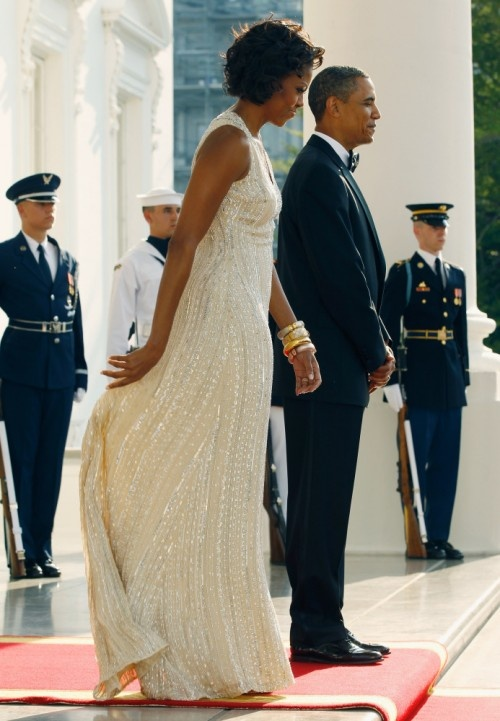 Michelle Obama Wears Naeem Khan To State Dinner With Germany (PHOTOS)