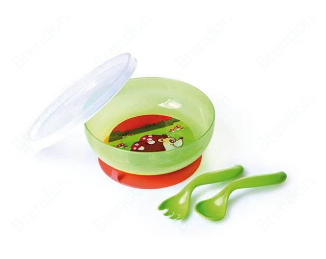 Brendon - Canpol babies étkészlet Bowl with lid, suction ring and cutlery 400ml mixed color