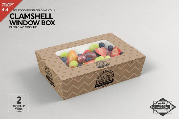 Download Clamshell Window Box Mockup Packaging Mockup Food Box Packaging Box Mockup
