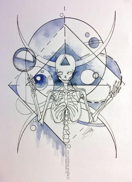 Illustration - Mind Palace - 01.17 Illustration semi sketch/semi géométrique réalisé au stylo Rotring 0.05 à 0.5 et Aquarelle. ~20 x 15 cm Plus de détails et photos sur www.jltgfndr.blogspot.com  #Portrait #Squelette #Skeletton #Bones #Skull #Watercolor #Aquarelle #Bleu #Blue #Bubbles #Bulles #Planètes #Triangle #Tattoo #Tatouage #Illustration #Géométrie #Geometric #Bust #Frame #Coulures #Sherlock #Jltgfndr #Couleur #Color