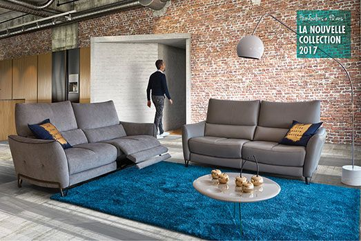 HomeSalons | Crystal | Canapé Relaxation 2 place, gris. Ce modèle est disponible en cuir ou en tissu.