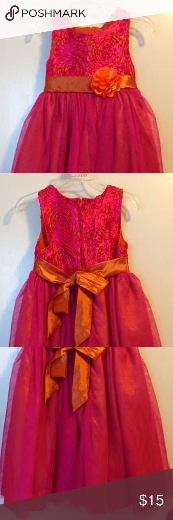 Nannette 4T formal dress hot pink and orange NWOT Way more beautiful in person. Hot pink/orange formal dress. Bought to be used as flower girl dress for a wedding but was never worn. Would be great for a dance, church, wedding or any other special occasion in your little ones life. Nannette Dresses Formal