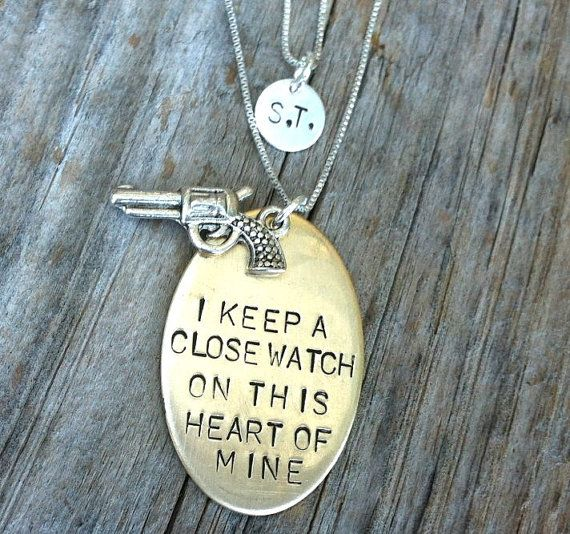 Johnny Cash Jewelry, Johnny Cash Necklace, I Keep A Close Watch, Double Layered Necklace, Personalized Hand Stamped Jewelry, $69.00