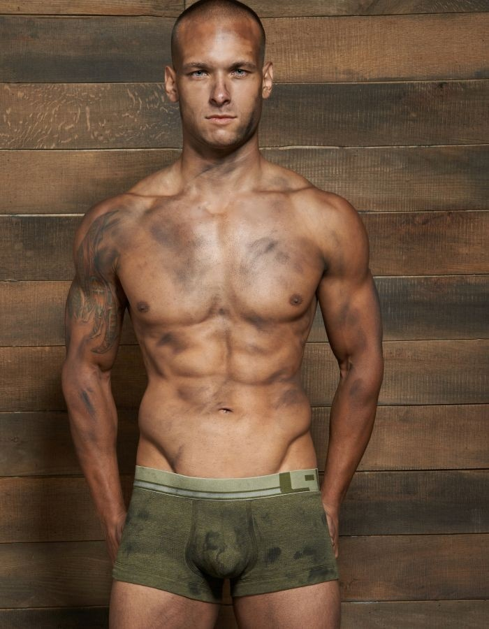 Filthy Lo No Show Army Trunk in Olive Fatigue: Filthy is a collection of textured fabrics that have been hand-rubbed with pigments and dyes to give a dirty, worn-in, worked-in look. Giving credit to just plain hard work, the Filthy collection was born.    #FILTHY #CIN2 #BRIEFS #BRIEF #UNDERWEAR #BOXERS