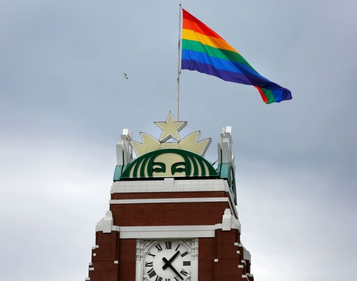 A look at Starbucks history of LGBT inclusion, as the Pride flag is raised for the third year at Starbucks Support Center (headquarters) in Seattle.
