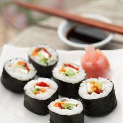 Mushroom and sweet piquanté pepper sushi