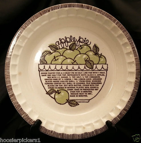 ROYAL CHINA POTTERY APPLE RECIPE PIE PLATE JEANNETTE VINTAGE RETRO BAKEWARE $22.00 & 10 best recipe pie plates images on Pinterest | Pie plate Pies and ...