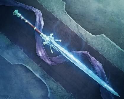 Espada azul com diversos detalhes, aparentemente cobrida por uma aura azul com tons de roxo
