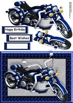 Beautiful Blue Motorbike on Craftsuprint - Add To Basket!