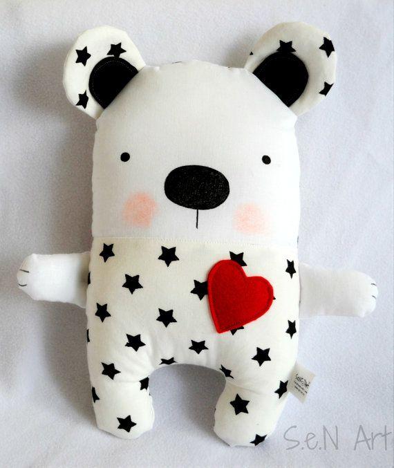 Blanco y negro Stars oso de peluche hecho a mano peluche oso
