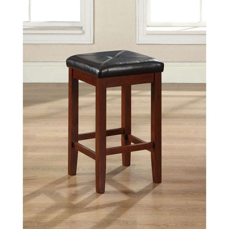Crosley Furniture Upholstered Square Seat Bar Stool in Classic Cherry Finish with 24 Inch Seat Height.