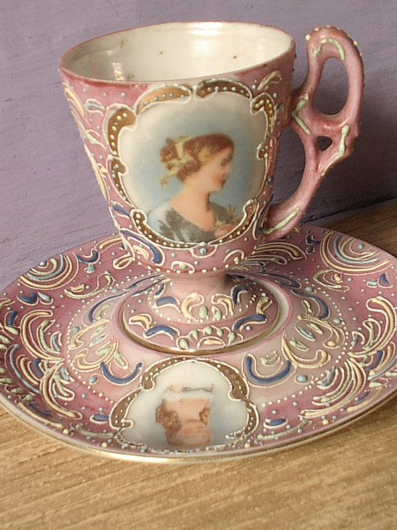 Antique pink tea cup and saucer set, vintage Ardalt Japanese tea cup, lustreware hand painted moriage tea set, Victorian portrait cup.