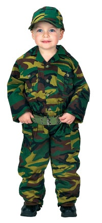 Child Green Jr. Camouflage Army Costume with Cap - Soldier Costumes