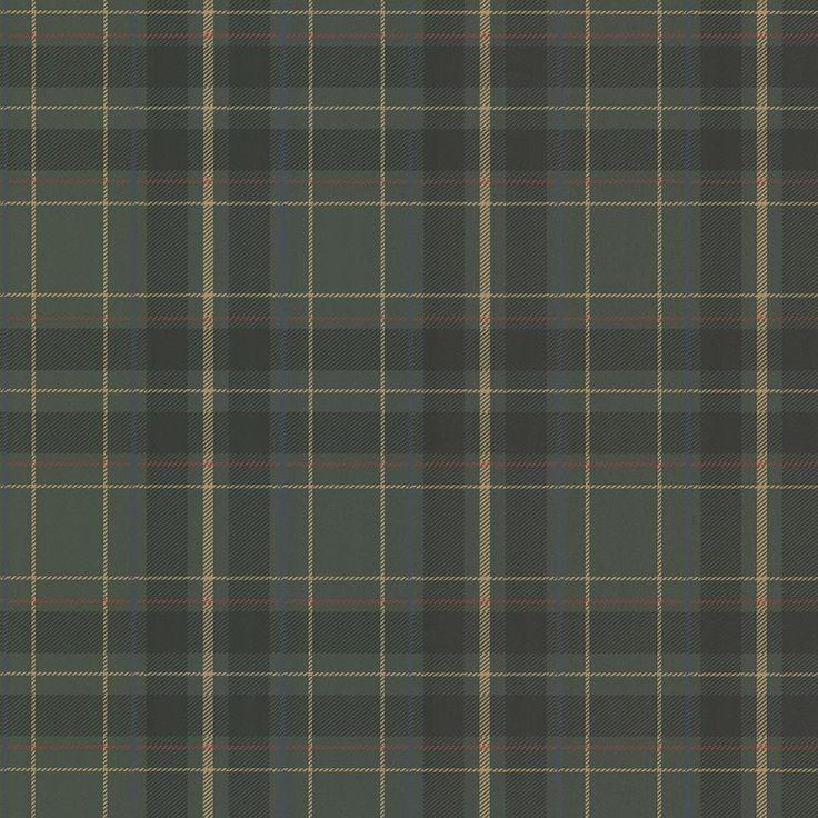 Caledonia Dark Green Plaid Wallpaper Sample