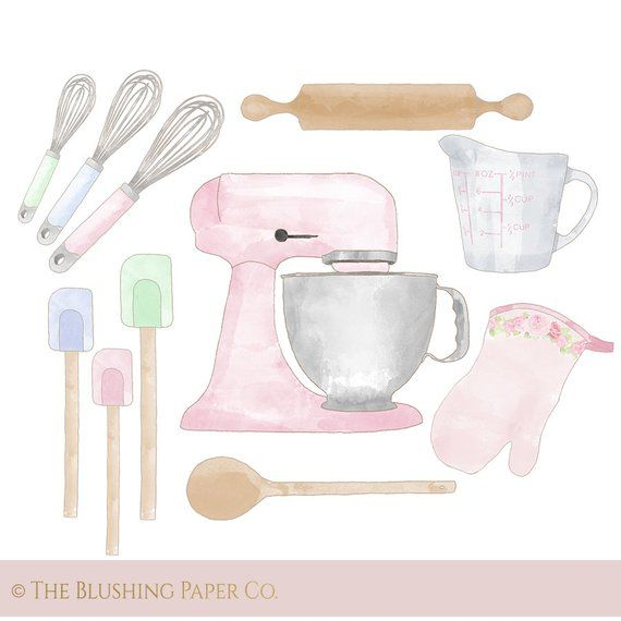 Kitchen Utensils Watercolor Art Wooden Spoon Whisk And Slotted