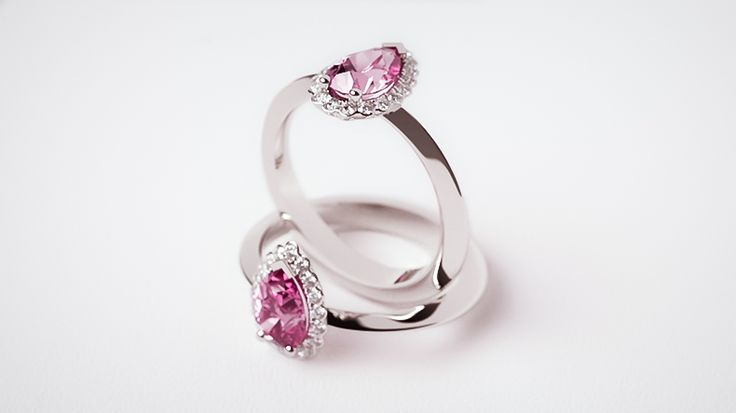 Ashberry pink sapphire and diamond in platinum.