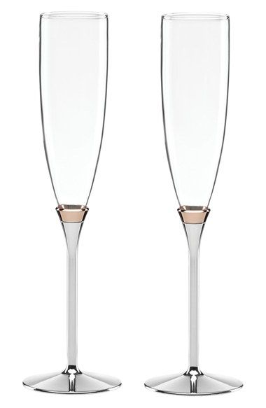 Free shipping and returns on kate spade new york 'rosy glow' champagne toasting flutes (set of 2) at Nordstrom.com. Rose-gold trim adds a classy accent to slender champagne flutes with a mirror-polish silver-plate base. Use them to toast a special moment in style.