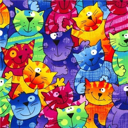 colored designer fabric with funny colourful cats......