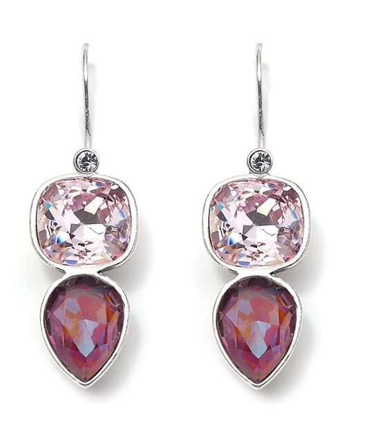 Strinking pink Swarovski crystal earrings with detachable french wires from Miglio