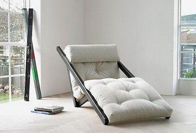 Lounge Futon Schlafsofa Sessel Liege Weiß Wenge 14302