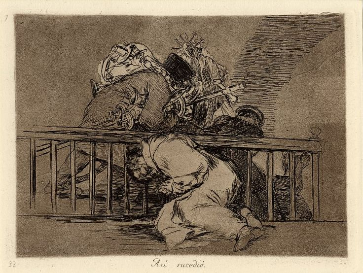 Image gallery: Asi sucedio (This is how it happened) / Los Desastres de la Guerra (The Disasters of War) - Plate 47: monk slumped against rail, looting soldiers(?) behind carrying off candlesticks and icons; 1863 impression. 1810-12 Etching, burnished aquatint, lavis, drypoint, burin and burnisher, with heavy surface tone